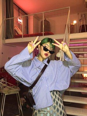 kuosey UN 藍條紋OVERSIZE襯衫女長袖2019新款春秋裝社會ins超火上衣外套
