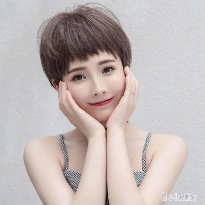短假髮 假髪女短髪狗式啃劉海氣質修臉蓬松鎖骨髪頭圓臉短卷髪套 CP4420一件免運