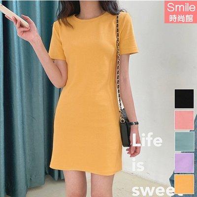 【V3070】SMILE-輕意微甜.氣質純色圓領短袖連身裙