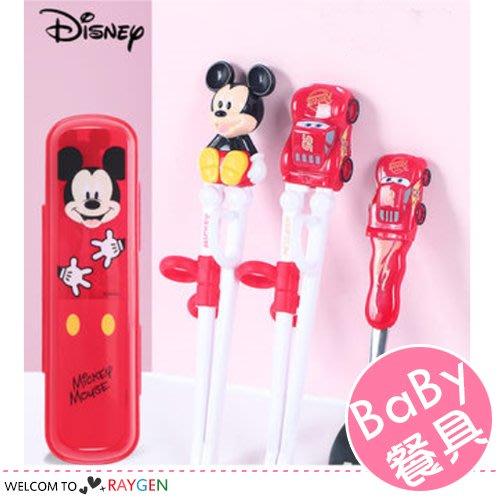 八號倉庫 正品迪士尼系列3D兒童餐具 學習筷 湯匙 收納盒 3件/組【3D010M891】