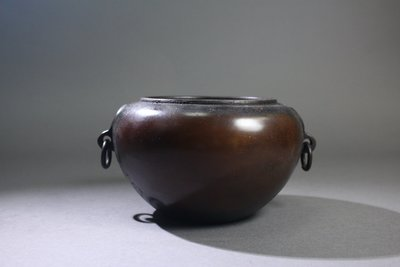 悅年堂 --- 銅 活環耳 缽形爐 銅...