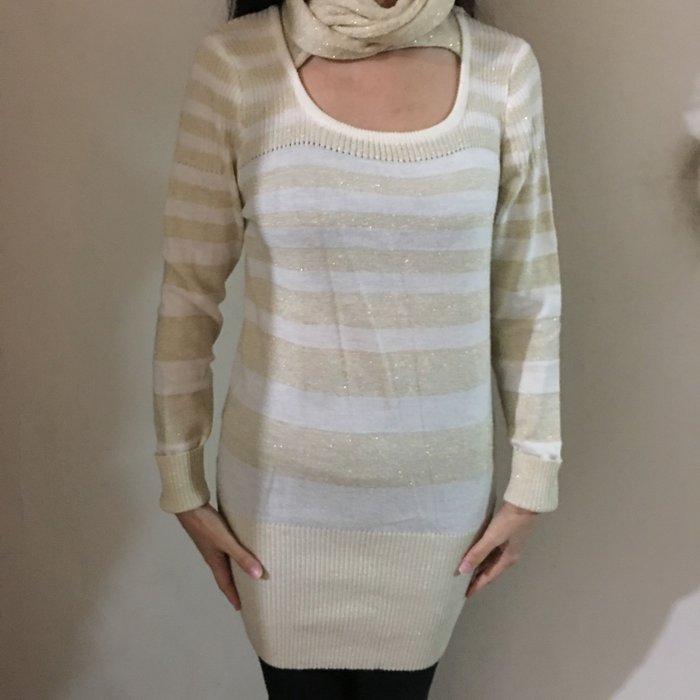 二手白色金蔥條紋附圍脖長版針織上衣 針織洋裝