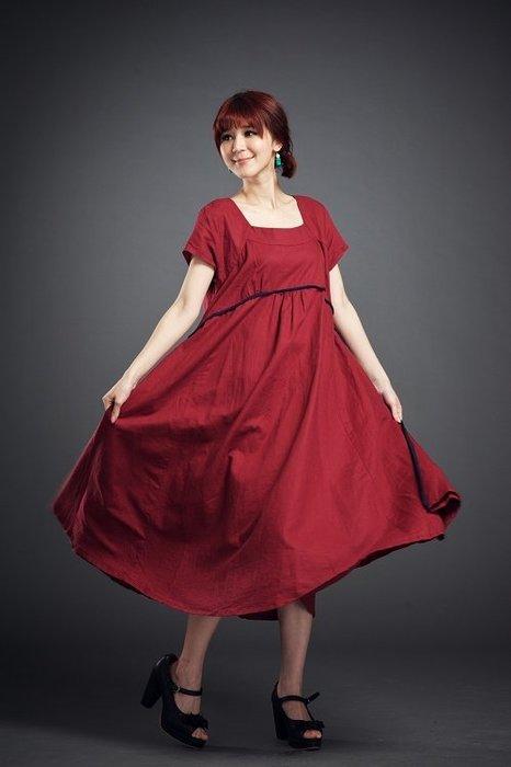 !中國藍Anewei亞麻 Linen磚紅短袖長洋裝F萊爾富免運
