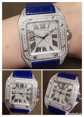 【愛錶回春中心】( 專業代鑲美鑽石 ) ~Cartier原廠 Santos 100~51mmX42mm 請自備錶~