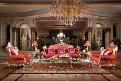 [紅蘋果傢俱] G314 洛克思瑞系列 歐式沙發 法式沙發 新古典 布/皮沙發 實木雕刻 別墅沙發 洛可可 實體賣場