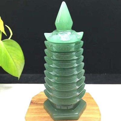 天然東陵玉雕刻九層文昌塔 家居辦公室裝飾 水晶塔擺件