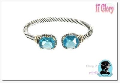 【金屬繩索■時尚手環】Tiffany藍色&黑色晶鑽~ 紐約時尚款 ~時尚精品 #現貨✽ 17 Glory ✽