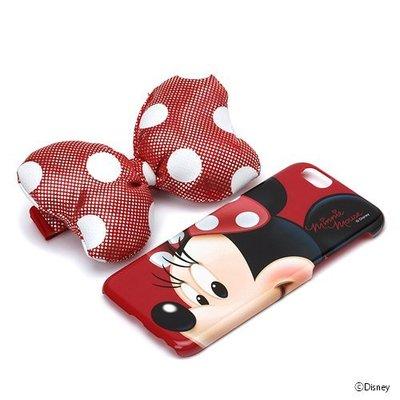 尼德斯Nydus~* 日本正版 迪士尼 米妮 硬殼 蝴蝶結+手機殼 可立式 4 .7吋 iPhone 6