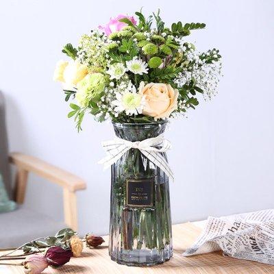 歐式花瓶北歐水培干花玻璃花瓶擺件小清新透明家居客廳富貴竹百合插花鮮花