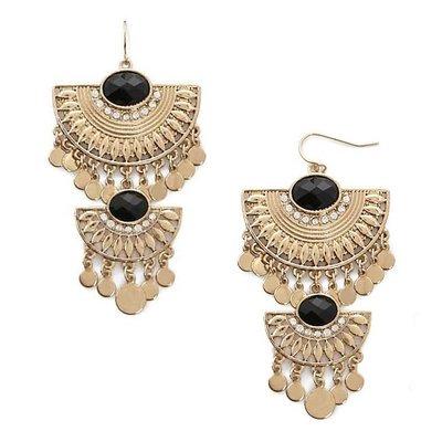 正品 FOREVER 21 tiered ornate drop earrings 金色層次華麗垂墜耳環