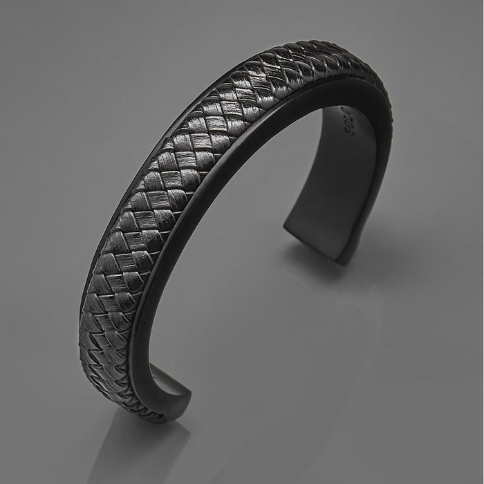 藤原本鋪 SOLO 簡約編織皮革C型手環 黑