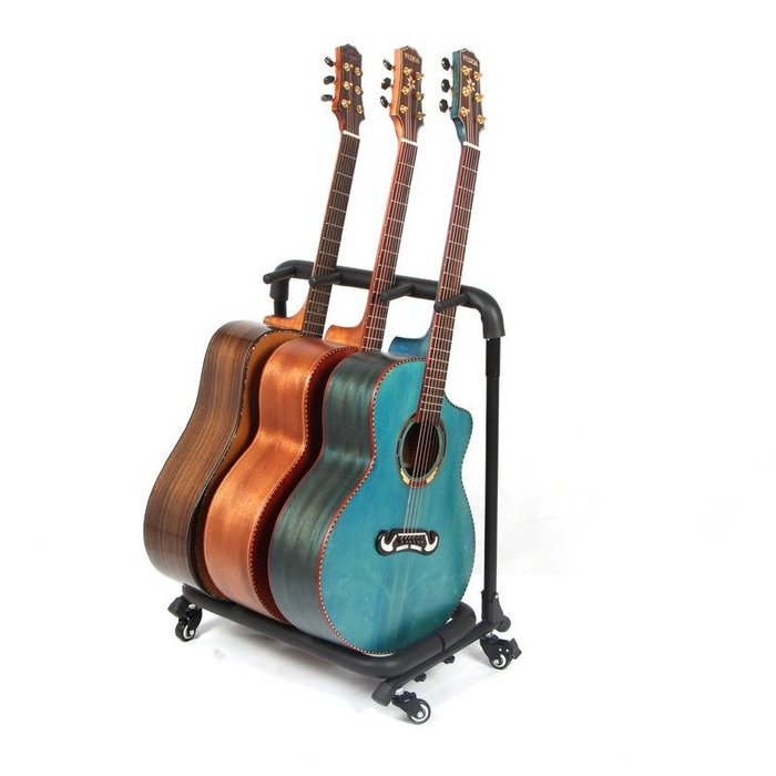 ~全新~移動式滑輪3支吉他架/吉他架/電吉他架/Bass/ 電貝斯架/琵琶架(練團室/錄音室好物)穩固管架,泡棉覆管