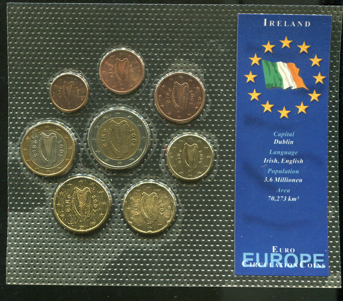 Ireland 歐元(愛爾蘭)硬幣,套幣8枚一組,品相99新AU+