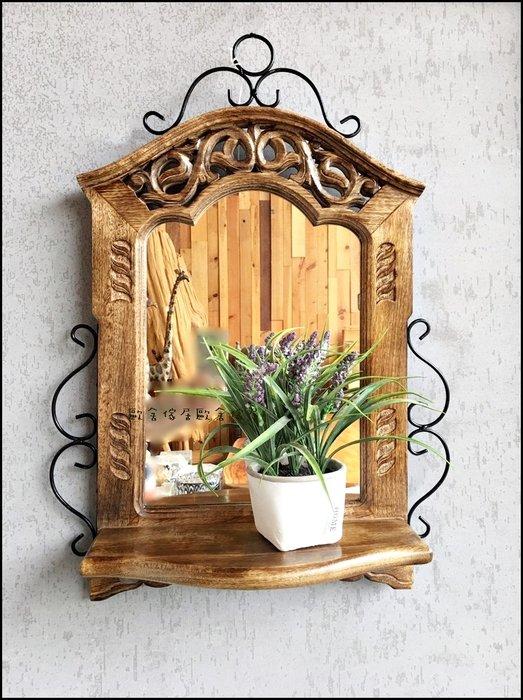 民族風印度製 仿舊雕花原木平台壁鏡 鍛造實木復古造型刷舊壁掛式玄關鏡子掛鏡 吊鏡穿衣鏡廁所鏡化妝鏡【歐舍傢居】