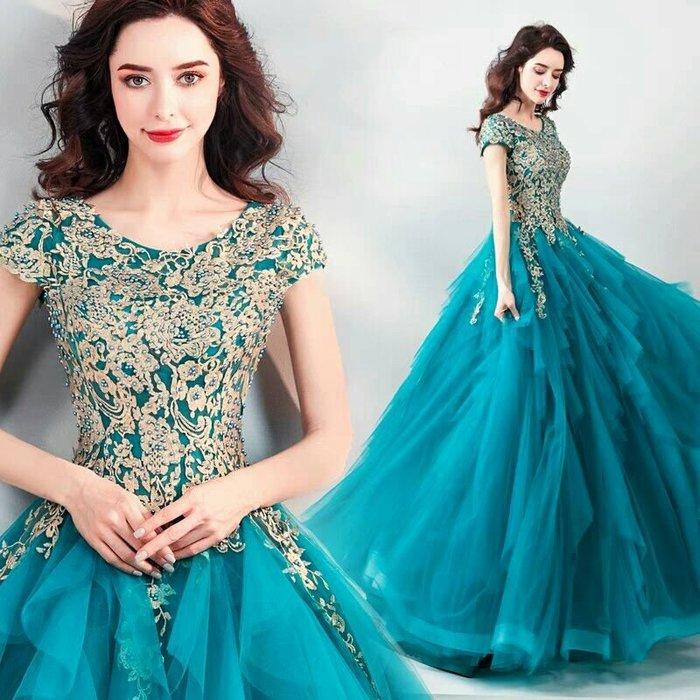 天使佳人婚紗禮服旗袍~~孔雀藍精美刺繡晚禮服