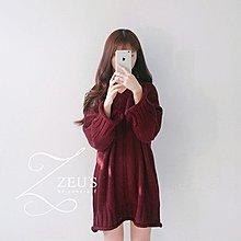【ZEU'S】秋冬保暖顯瘦捲邊針織長板上衣『 LB 0342』【現+預】