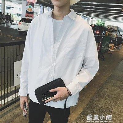 韓版百搭純色休閒長袖襯衫男女寬鬆bf風情侶上衣外套學生白襯衣潮