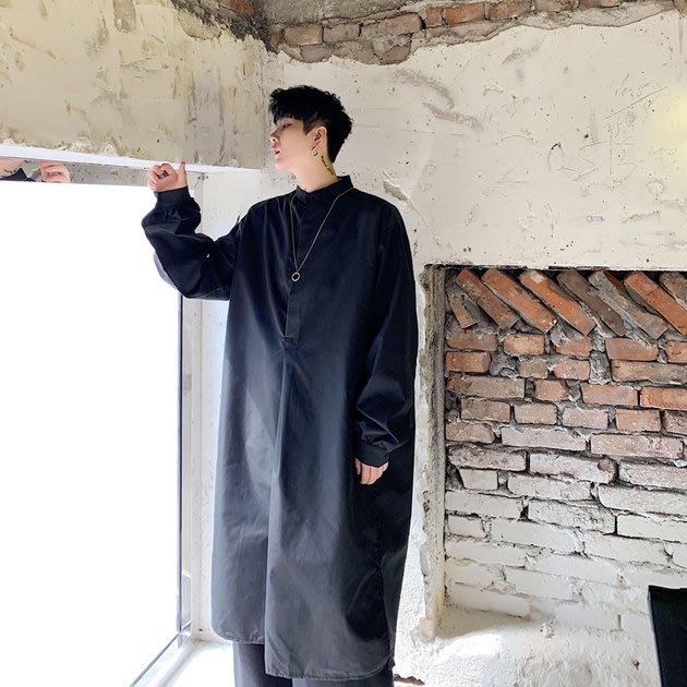 FINDSENSE 2019 秋季上新 G19 素面襯衫 山本風暗黑長款氣質黑白簡約長袖襯衫 男裝 上衣