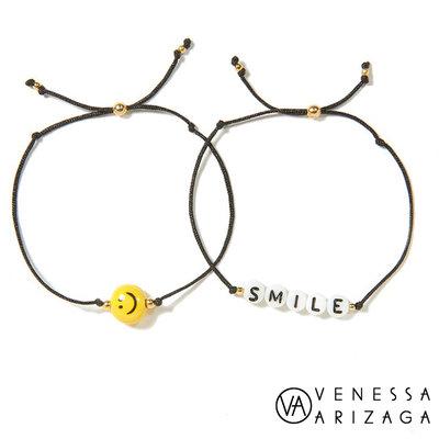 Venessa Arizaga SMILE 笑臉手鍊 黑色手鍊 2件組