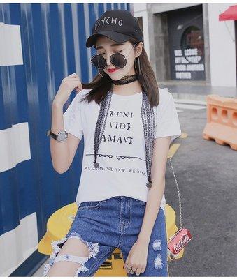 =EF依芙=韓國首爾 時尚精品 東大門同步 早班車7199 字母印花 鐵環破洞 蕾丝吊飾白色短袖T恤