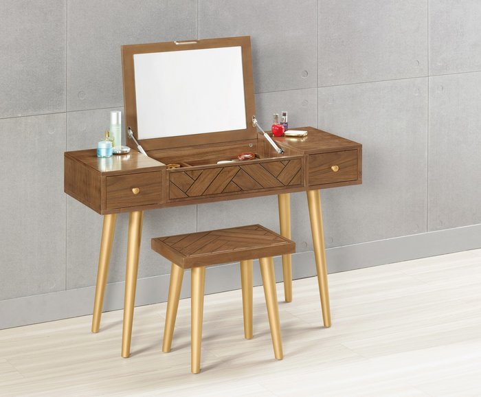 普萊斯3.7尺掀鏡化妝台書桌兩用(含椅子)😊暖暖屋傢俱傢飾😊