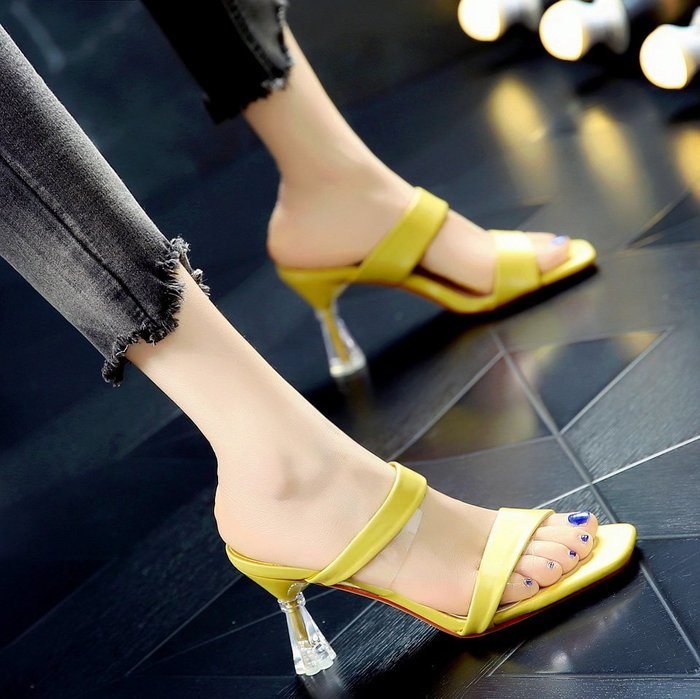 Fashion*時尚懶人外穿一字拖 露趾中跟韓版高跟鞋 舒適粗跟拖鞋