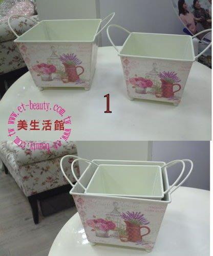 OUTLET限量低價出清鄉村ZAKKA 雜貨風格--  花草 方型 置物桶 /花器(二入一組)----店面櫥窗民宿