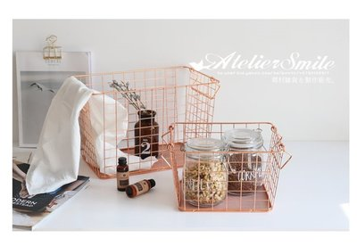 [ Atelier Smile ] 鄉村雜貨  玫瑰金鐵製收納籃 置物籃 手提展示籃 #大 (現+預)