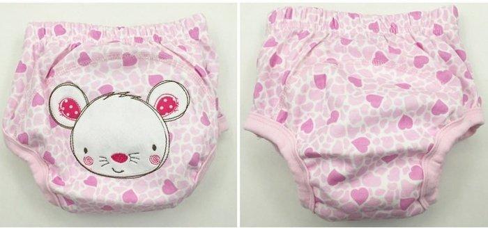 ☆草莓花園☆ momscare 嬰兒尿布褲 嬰兒/幼兒訓練褲 純棉防水可愛圖案 學習褲 隔尿褲 訓練褲--愛心老鼠