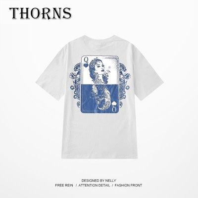 【THORNS】日系寬松復古oversize紋身印花t恤國潮短袖日式嘻哈搖滾朋克男女