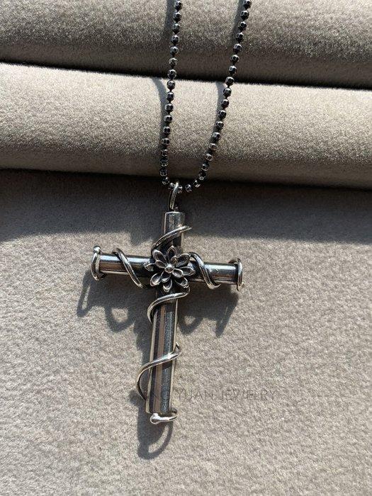 JING YUAN JEWELRY 925純銀 天人菊藤蔓十字架項鍊 全手工蠟雕製作而成 短戴長戴都好看