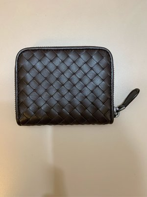 《近全新》BOTTEGA VENETA (BV) 巧克力色編織拉鏈零錢包,配件齊全