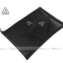 IN House* 韓國 Mesh Pouch簡約透氣黑色網紗化妝包收納包證件包 大+小 2件套組