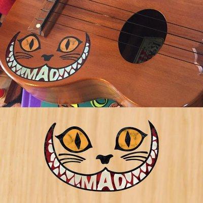 園之屋 日本 Inlay sticker 黃眼黑臉  笑臉貓 愛麗絲夢遊仙境 琴身貼紙 民謠吉他 電吉他 貝斯