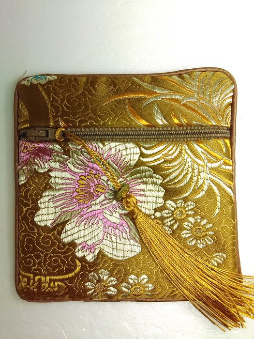 【京品藝術】〈咖啡色拉鍊流蘇錦袋〉荷包袋 零錢袋 手鐲袋 禮品袋 首飾袋 包裝袋 包裝盒 佛珠袋 錦囊 念珠袋