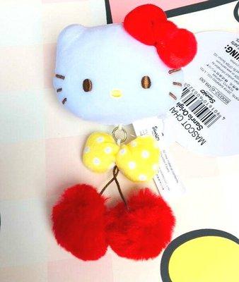@雪花館@ 現貨~正版Hello Kitty ♥ 絨毛櫻桃大臉吊飾