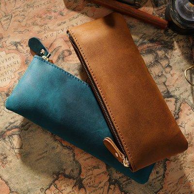 文具盒男女真皮拉鏈簡約小筆袋牛皮筆盒個性手工創意復古文具盒收納袋
