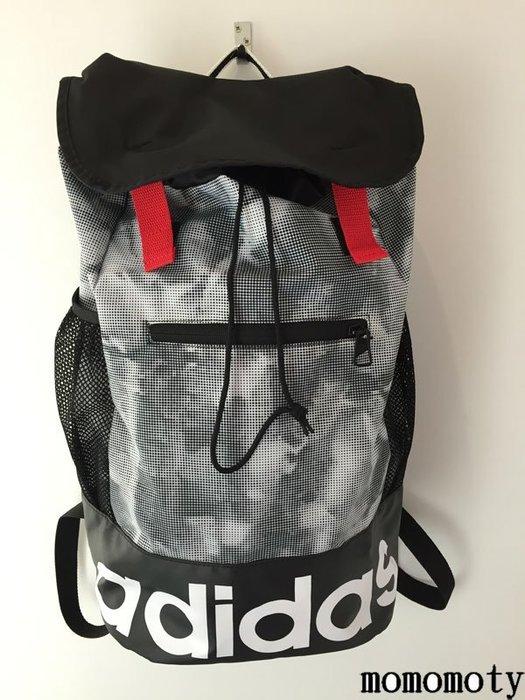 特價出清 ADIDAS 背包 後背包 黑白 束口 水壺袋 輕量 AI9112 運動背包 請先詢問庫存