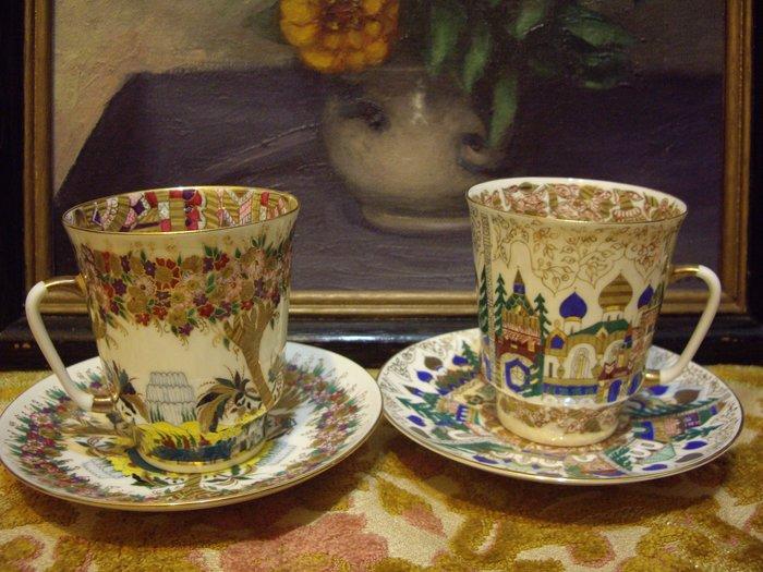 歐洲古物時尚雜貨 俄羅斯 手工 杯盤組 有作者簽名 花草樹 城堡圖騰 擺飾品 古董收藏  2組4件