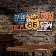 美式鄉村66號公路裝飾路牌酒吧個性裝飾咖啡館牆飾木版畫(兩款可選)