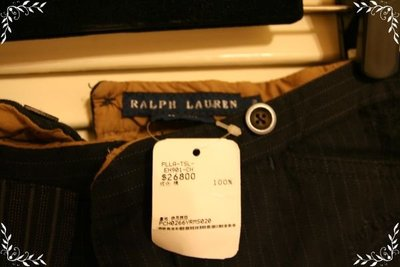 全新Ralph Lauren毀損風100%純棉重磅丹寧黑棕細條紋美腿牛仔褲 (原價$26800)