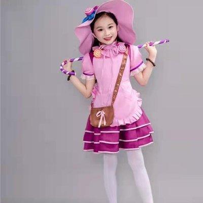 萬圣節cosplay兒童女童糖果女巫化妝舞會角色扮演女孩演出表演服檸檬說葡萄你好酸