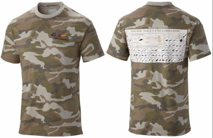 全新美國戶外名牌Columbia OMNI-SHADE® SPF 15 UV防曬魚餌週期表米彩特色T恤,免運費!無底價!