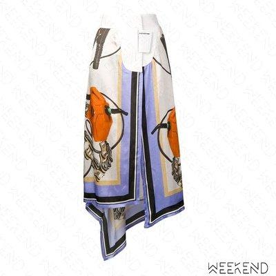 【WEEKEND】 EACH X OTHER 異材質 拼接 不規則裙襬 開岔 絲巾裙