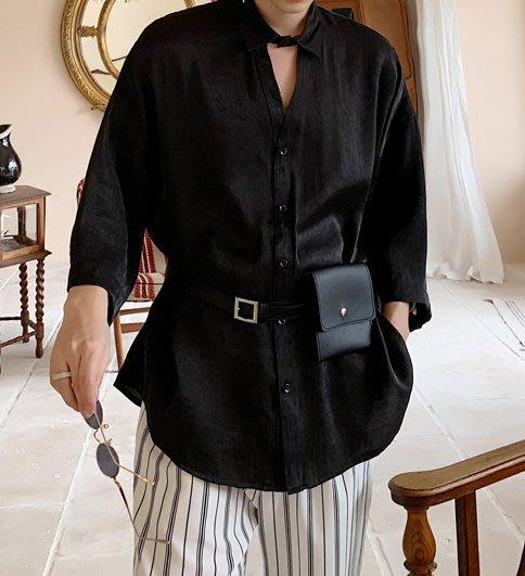 FINDSENS品牌 訂製 G6 韓系男裝 潮流時尚七分袖長款襯衫正韓短袖男白襯衫五分袖潮牌洋裝簡約寬鬆黑色白色中長上衣