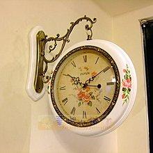 263 華城小鋪**創意時鐘 靜音 造型時鐘 /時鐘 掛鐘 雙面鐘 田園 手繪實木雙面鐘(白)