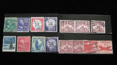【大三元】美洲郵票-美國郵票-10.美國郵政早期票-銷戳票15枚