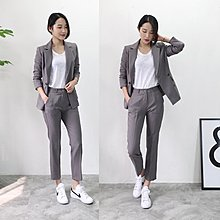 條紋職業小西裝套裝女氣質休閑寬松時尚雙排扣外套九分褲兩件套潮