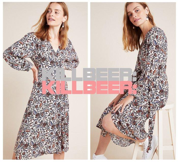 KillBeer:漂丿的都市名媛之 歐美復古典雅華麗巴洛克花朵圖騰印花裸白V領側綁帶垂墜連身裙長洋裝010808