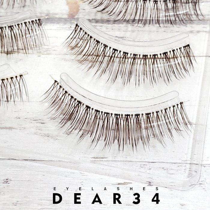 《Dear34》極細磨尖棕S5透明梗眼中長短款0.9cm日系逼真自然純手工編織咖啡色假睫毛一盒四對價
